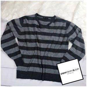 Paper Denim & Cloth. Pull Over Sweater Stripe Gray